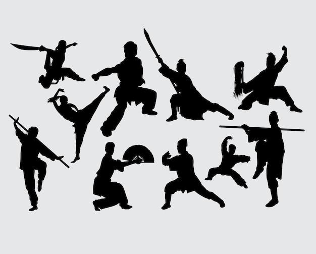 Silhouette d'entraînement d'arme d'arts martiaux kung fu