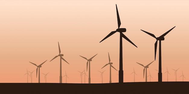 Silhouette d'éoliennes