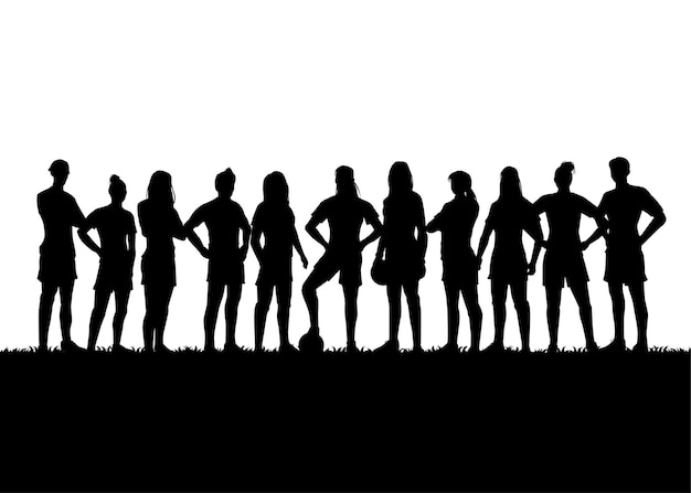 Silhouette d'équipe de football féminin