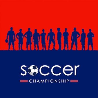 Silhouette de l'équipe de football, illustration vectorielle