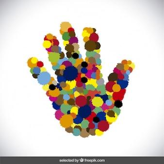 Silhouette de fait à la main avec des touches