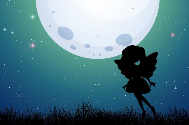 Silhouette de fée au fond de la nature