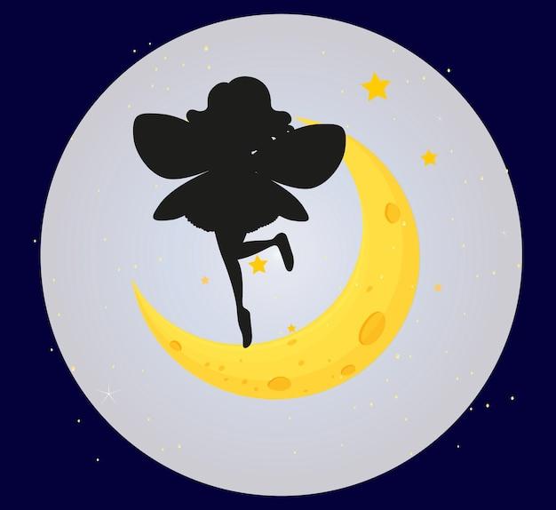 Silhouette de fée sur le fond de la lune