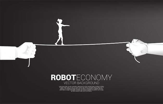 Silhouette de femme d'affaires marche corde en robot et main humaine. concept de défi commercial et cheminement de carrière.