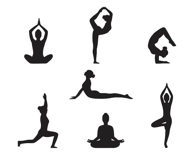 Silhouette de femmes dans diverses postures de yoga.