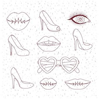 Silhouette de femmes mode filles silhouette monochrome