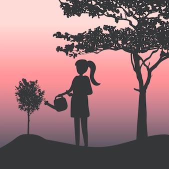 Silhouette, fille, arroser, vecteur plante