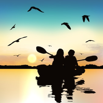 Silhouette de filles drôles, kayak.