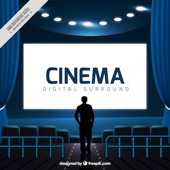 Silhouette fond d'une personne dans le cinéma