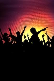 Silhouette d'une foule de fête