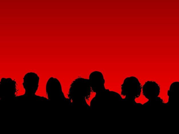 Silhouette d'une foule de personnes