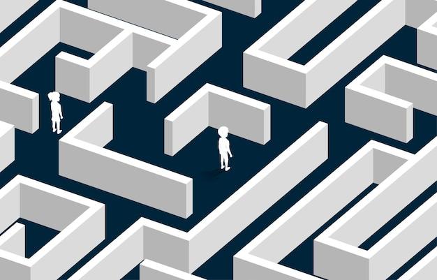 Silhouette de garçon et fille dans le labyrinthe. concept de pour le problème de l'avenir des enfants.