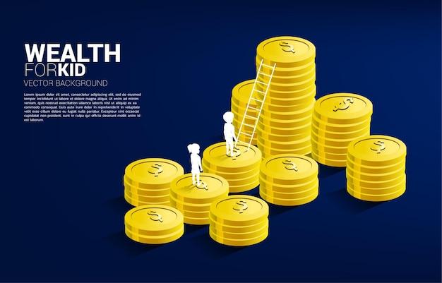 Silhouette de garçon et fille debout sur pile de pièces avec échelle. concept de budgétisation et de richesse pour les enfants.