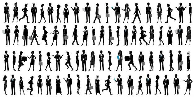 Silhouette de gens d'affaires du monde