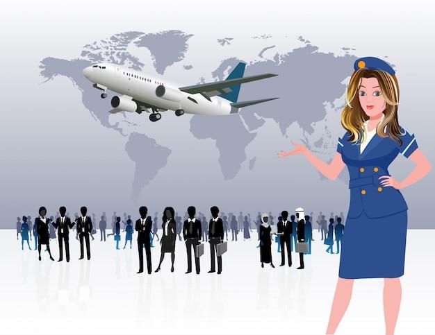 Silhouette de gens d'affaires de voyages du monde