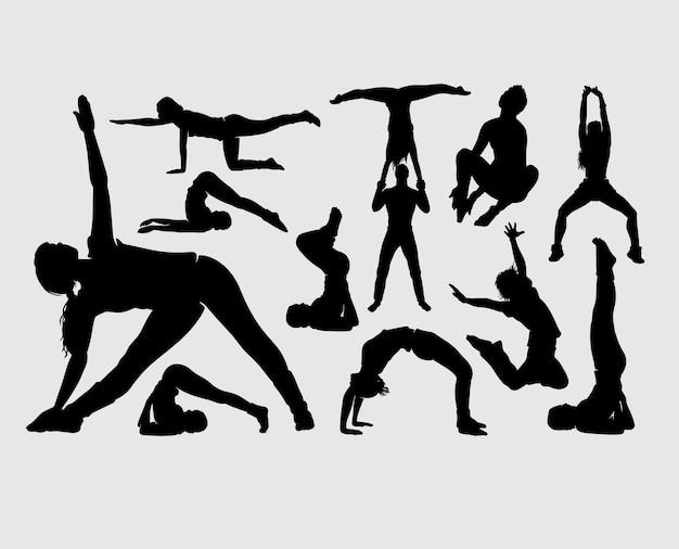 Silhouette de geste masculin et féminin de sport
