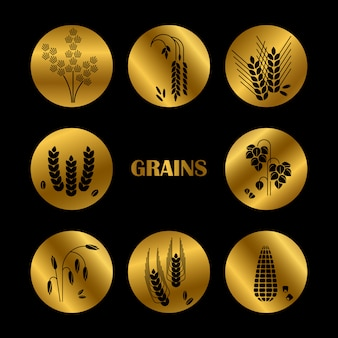 Silhouette de grains noirs. collection de céréales