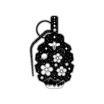 Silhouette de grenades à main avec des fleurs et des étoiles