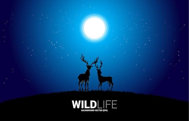 Silhouette de gros cerf avec nuit avec fond de lune et d'étoile. pour le naturel, prenez soin et sauvez l'environnement.