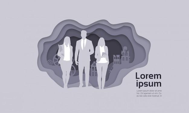 Silhouette groupe de gens d'affaires groupe homme et femme