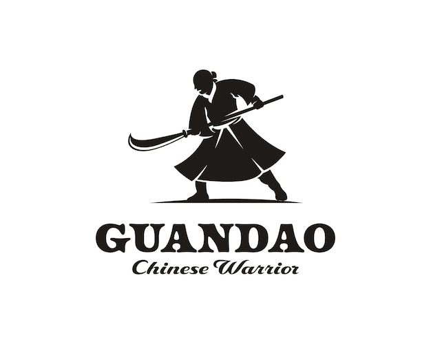 Silhouette de guerrier chinois tenant le modèle de conception de logo d'épée de lance
