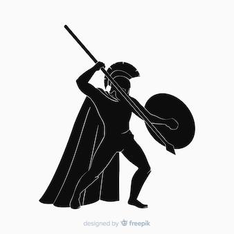 Silhouette de guerrier spartiate avec javelot