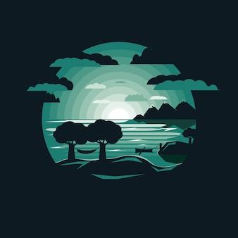 Silhouette, hamac, mont, bord lac