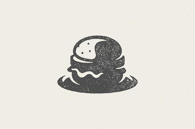 Silhouette de hamburger comme effet de timbre dessiné à la main logo service de restauration rapide