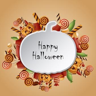Silhouette heureuse de citrouilles de carte d'halloween