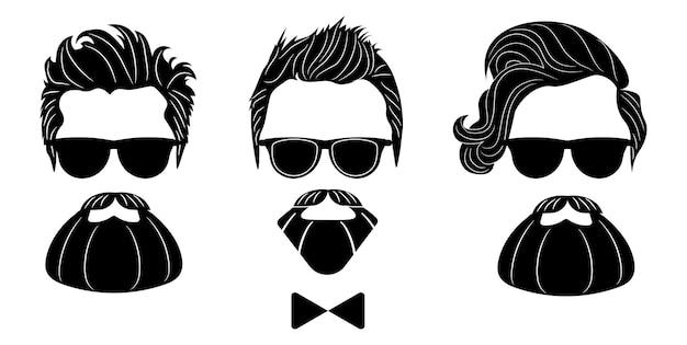 Silhouette de hipster barbu. mode vector illustration eps 10 isolé sur fond blanc.