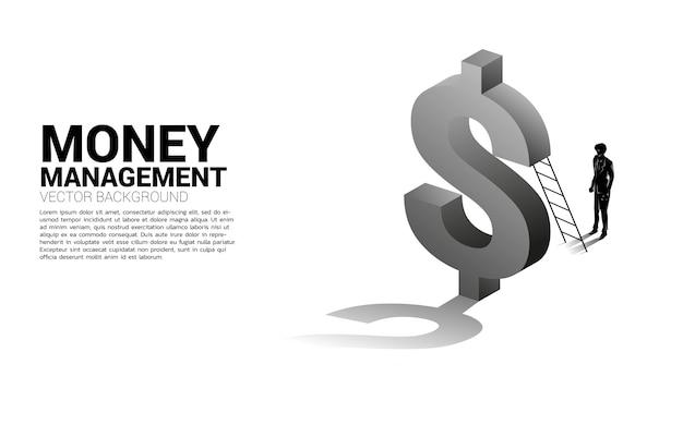 Silhouette d'homme d'affaires debout avec échelle et icône de dollar 3d. concept d'investissement de réussite et de croissance en entreprise