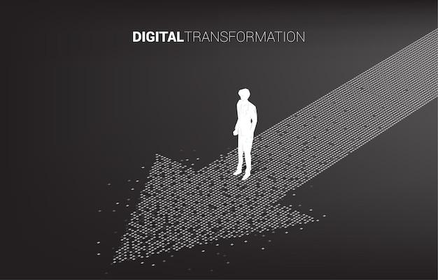 Silhouette d'homme d'affaires debout sur la flèche du pixel. bannière de la transformation numérique de l'entreprise.