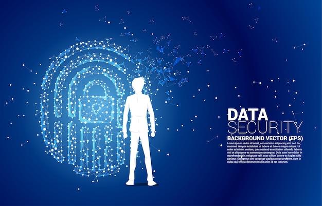 Silhouette d'homme d'affaires debout avec l'icône de l'empreinte du point de connexion du polygone de ligne avec le centre du pavé de verrouillage.