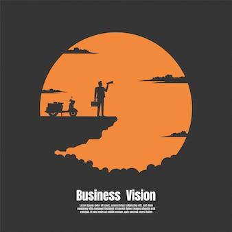 Silhouette, homme affaires, sur, falaise montagne