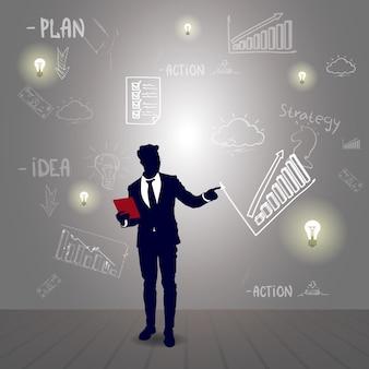 Silhouette homme d'affaires avec graphique financier rapport de réussite financière sketch