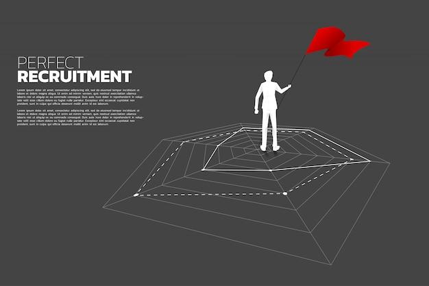 Silhouette d'homme d'affaires permanent sur le graphique en araignée.