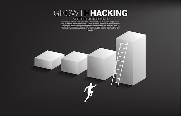 Silhouette d'homme d'affaires prêt à monter sur le graphique à barres avec échelle.