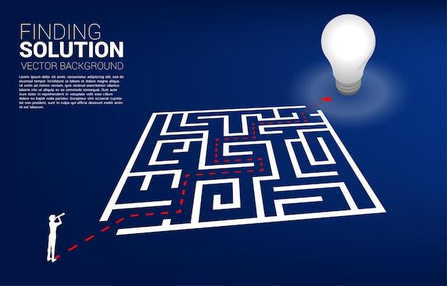Silhouette d'homme d'affaires regardant à travers le télescope debout sur la route du labyrinthe jusqu'à l'ampoule. concept d'entreprise pour la résolution de problèmes et la recherche d'idées.