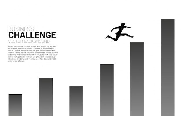 Silhouette d'homme d'affaires sauter à la colonne supérieure du graphique. concept de risque et de réussite en affaires