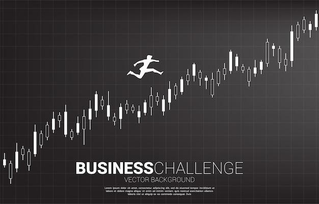 Silhouette, homme affaires, sauter, croissant, bougie, graphique concept de personnes prêtes à démarrer leur carrière et leur entreprise