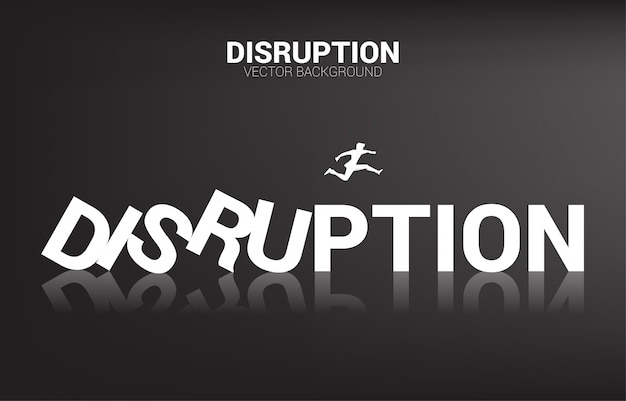 Silhouette d'homme d'affaires sauter loin de l'effondrement du domino. concept d'entreprise de perturbation des affaires et effet domino