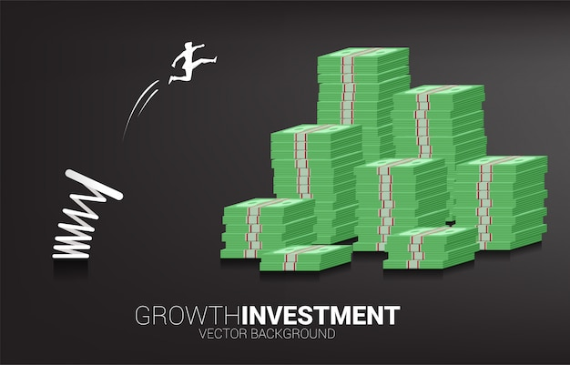 Silhouette d'homme d'affaires sauter à la pile de billets d'argent avec ressort. concept de relance et de croissance des affaires.