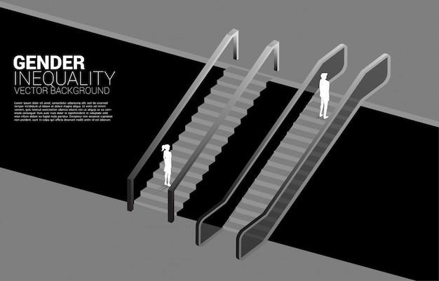 Silhouette d'homme d'affaires se déplace plus rapidement que la femme d'affaires avec l'escalator.concept de l'inégalité entre les sexes dans les affaires et obstacle dans le cheminement de carrière de la femme