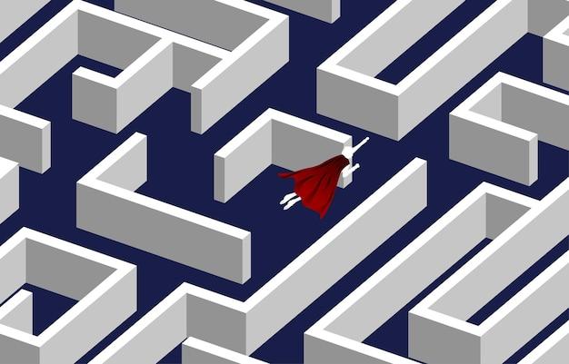 Silhouette d'homme d'affaires survolant le labyrinthe. concept d'entreprise pour la résolution de problèmes et la recherche d'idées.