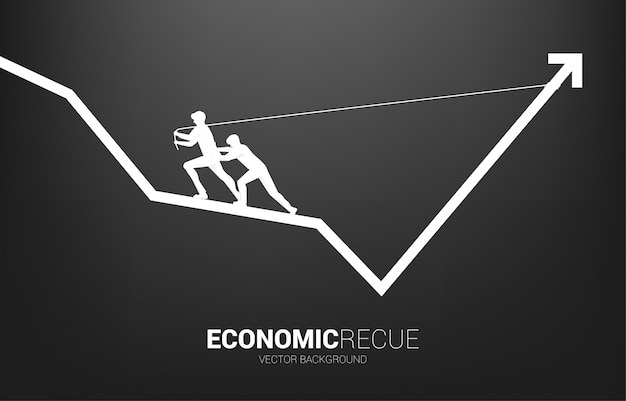 Silhouette d'homme d'affaires tirer vers le haut du graphique de l'entreprise avec une corde et une bobine. concept d'amélioration des affaires.