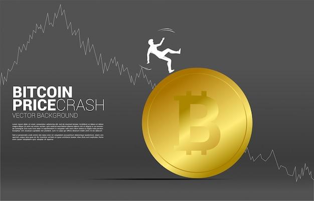 Silhouette d'homme d'affaires tombant du bitcoin. concept de chute du marché des crypto-monnaies