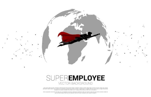 Silhouette d'homme d'affaires volant du globe terrestre. concept d'entreprise de la mission cible mondiale.