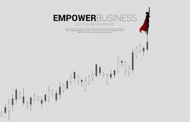 Silhouette d'homme d'affaires volant vers le graphique en chandelier de croissance