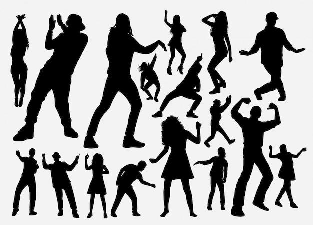 Silhouette homme et femme danseuse et rappeur
