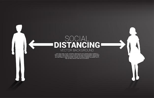 Silhouette d'homme et femme debout avec distance pour éviter le virus. concept de distanciation sociale et d'isolement.
